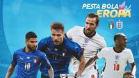 Piala Eropa - Euro 2020 Italia Vs Inggris - Lorenzo Insigne, Ciro Immobile, Harry Kane, Raheem Sterling (Bola.com/Adreanus Titus)