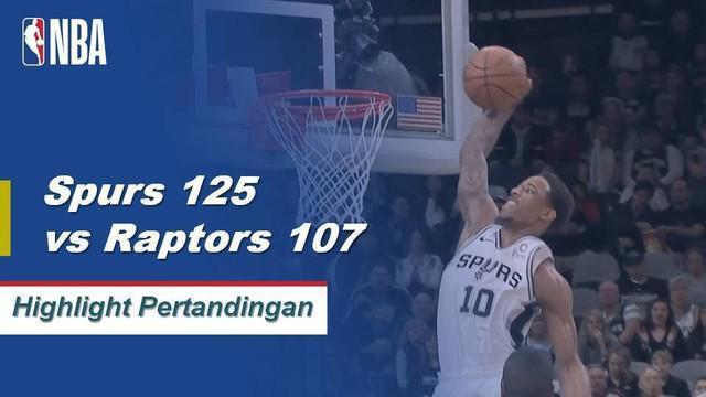 DeMar DeRozan mencatatkan karir triple-double pertamanya dengan 21 poin, 14 rebound, dan 11 assist saat San Antonio mengalahkan Toronto.
