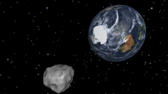 Grafik NASA menggambarkan Earth flyby of asteroid 2012DA14. (Photo by HO/NASA/AFP)
