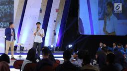 CEO  Brodo Yukka Harlanda menjadi pembicara dalam acara Emtek Goes To Campus (EGTC) 2018 di Universitas Gajah Mada, Yogyakarta, Rabu (17/10). Yukka Harlanda berbagi cerita bagaimana cara berbisnis. (Liputan6.com/Herman Zakharia)