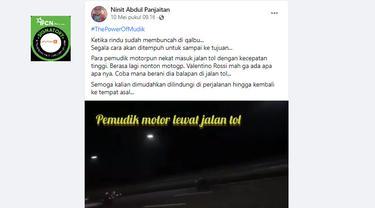 Cek Fakta Liputan6.com menelusuri klaim video pemudik naik motor lewat tol
