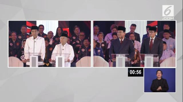 Pasangan Jokowi-Ma'ruf Amin dan Prabowo-Subianto saat debat capres cawapres 2019