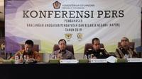 Konferensi Pers tentang RAPBN 2019 di Ruang Rapat Gedung B, Kantor Bea Cukai Soekarno Hatta Area Cargo, Bandara Soekarno Hatta, Cengkareng, Tangerang. (Dwi Aditya Putra/Merdeka.com)
