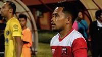 Andik Vermansah pada laga debut bersama Madura United. Dia mencetak satu gol saat timnya menang 2-0 atas Cilegon United di Stadion Gelora Ratu Pamelingan, Pamekasan, Selasa malam (29/1/2019). (Bola.com/Aditya Wany)
