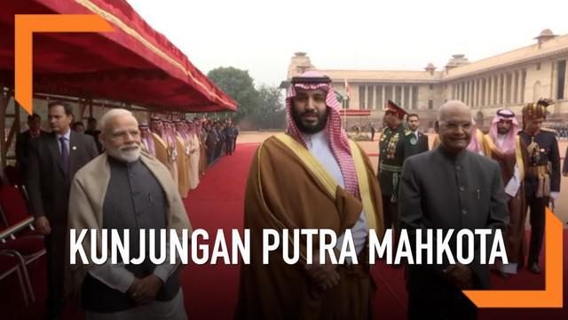 Putra Mahkota Arab Saudi Mohammed bin Salman tiba di India, disambut Presiden dan Perdana Menteri India dalam upacara kenegaraan.
