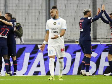 Paris Saint-Germain (PSG) sukses menjadi jawara pada laga derbi bertajuk Le Classique melawan Marseille. (AP Photo/Daniel Cole)