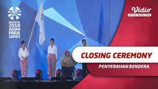 Berita video penyerahan bendara Asian Para Games kepada negara China di acara penutupan Asian Para Games 2018, Sabtu (13/10/2018).