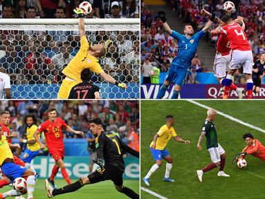 Kiper Meksiko, Guillermo Ochoa, heroik saat melawan Brasil meski akhirnya kalah, demikian juga Kasper Schmeichel yang membuat Kroasia frustasi. Berikut ini tujuh kiper dengan penyelamatan terbanyak di Piala Dunia 2018. (Kolase foto-foto dari AFP)