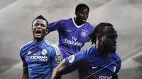 Victor Moses, John Obi Mikel dan Celestine Babayaro. (Bola.com/Dody Iryawan)