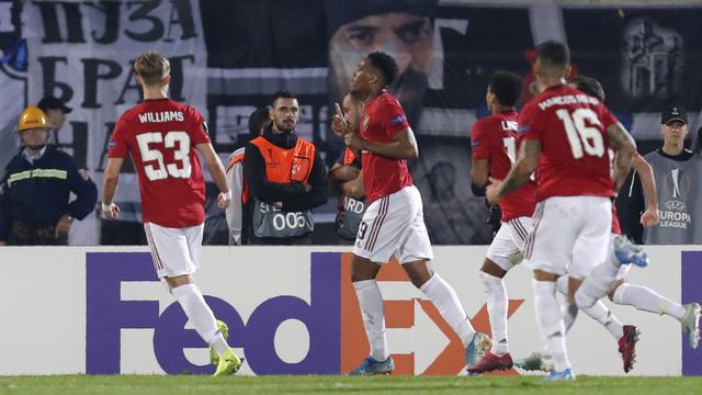 Gol Penalti Martial Antar MU Kalahkan Partizan Belgrade