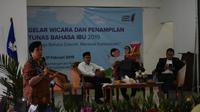 Dr Multamia RMT Lauder memberikan ceramah dalam seminar Hari Bahasa Ibu Internasional di Badan Bahasa Rawamangun, Kamis (21/02)