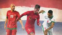 Timnas Indonesia - Sergio van Dijk, Stefano Lilipaly, Raphael Maitimo dan Bendera Belanda (Bola.com/Adreanus Titus)
