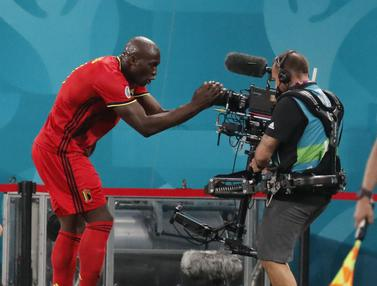 Foto Piala Eropa: Sumbangkan Dua Gol, Lukaku Berikan Kemenangan untuk Pertandingan Perdana Belgia di Grup B Euro 2020