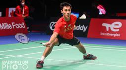 Shesar Hiren Rhustavito menjadi pahlawan dengan mengunci kemenangan Indonesia atas Thailand di partai kelima. (Badminton Photo/Yves Lacroix)