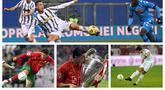 760 gol Ronaldo tercipta dalam total 1040 pertandingan resmi yang pernah ia lakoni bersama berbagai tim, mulai dari Sporting CP, Manchester United, Real Madrid, Juventus, hingga tim nasional Portugal. (Foto: AFP & AP)
