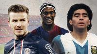 David Bekham, Ronaldinho dan Diego Maradona. (Bola.com/Dody Iryawan)