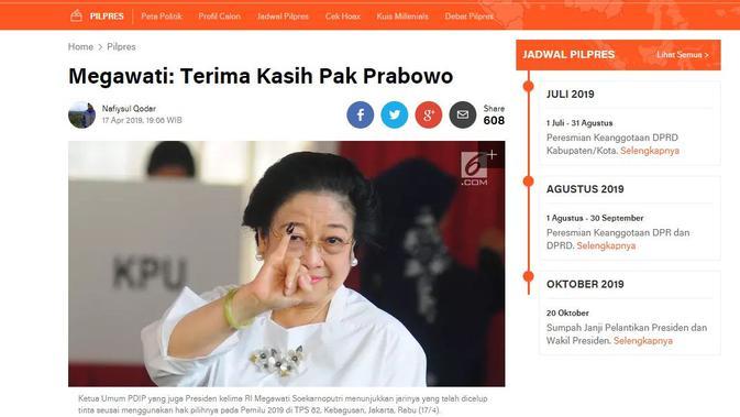 [Cek Fakta] Megawati Alihkan Dukungan Untuk Prabowo Subianto dalam Pilpres 2019, Faktanya?