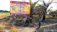 Polisi menyegel lahan bekas terbakar di Kecamatan Payung Sekaki, Pekanbaru. (Liputan6.com/M Syukur)