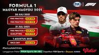 Jadwal live streaming F1 Hungaria: Magyar Nagydij 2021 akan berlangsung mulai hari ini, Jumat-Minggu 30 Juli-1 Agustus di Sirkuit Hungaroring, Budapest, Hungaria.