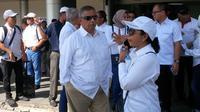 Menteri BUMN Rini Soemarno memboyong beberapa Direktur Utama BUMN ke Palu, Sulawesi Tengah, Rabu (3/10/2018). (Pebrianto Eko/Liputan6.com)