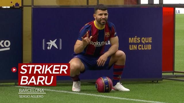 Berita video perkenalan Sergio Aguero sebagai striker baru Barcelona.