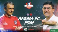 Shopee Liga 1 - Arema FC Vs PSM Makassar Head to Head Pelatih (Bola.com/Adreanus Titus)