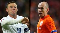 Striker Inggris, Wayne Rooney (kiri) dan gelandang Belanda, Arjen Robben, bakal saling berhadapan pada laga uji coba di Stadion Wembley pada 26 Maret 2016. (Dok. FA)