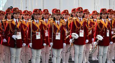 Penampilan Pemandu Sorak Korea Utara Sambut Atlet Olimpiade Pyeongchang