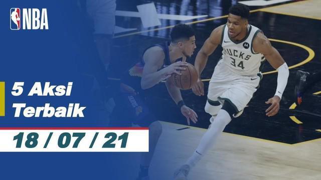 Berita video aksi-aksi keren yang terjadi pada gim kelima Final NBA 2021, salah satunya aksi steal dan assist menentukan yang dilakukan bintang Milwaukee Bucks, Jrue Holiday.