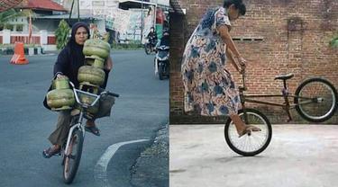 6 Aksi Emak-Emak Naik Sepeda Ini Atraktif Banget, Bikin Melongo