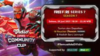 Link Live Streaming Vidio Community Cup Season 7 Free Fire Season 7, Selasa 29 Juni 2021. (Sumber : dok. vidio.com)