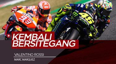 Berita video insiden menegangkan Valentino Rossi dan Marc Marquez yang saling menyalip di Kualifikasi MotoGP San Marino 2019, Sabtu (14/9/2019).