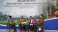 Badan Bahasa Menyelenggarakan Gelar Wicara Hari Bahasa Ibu Internasional yang juga dihadiri Dirjen Kebudayaan Hilmar Farid dan Raja Salhana Petu (Raja Negeri Hitu Lama). (Foto: Reza Deni Saputra)