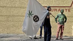 Seorang aktivis memakai topeng dan kostum bermotif ganja saat mengelar aksi di depan Komisi Federal COFEPRIS di Mexico City (20/11). Mahkamah Agung Meksiko memberikan izin untuk menanam dan merokok ganja untuk konsumsi pribadi. (AFP PHOTO/Yuri Cortez)