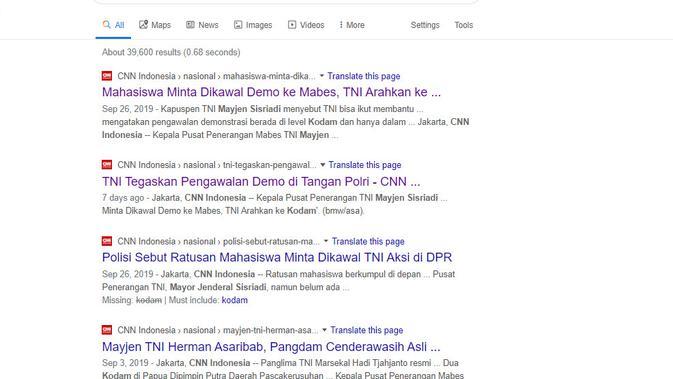 Cek Fakta: pernyataan Kapuspen TNI Mayjen Sisriadi (Google Search)