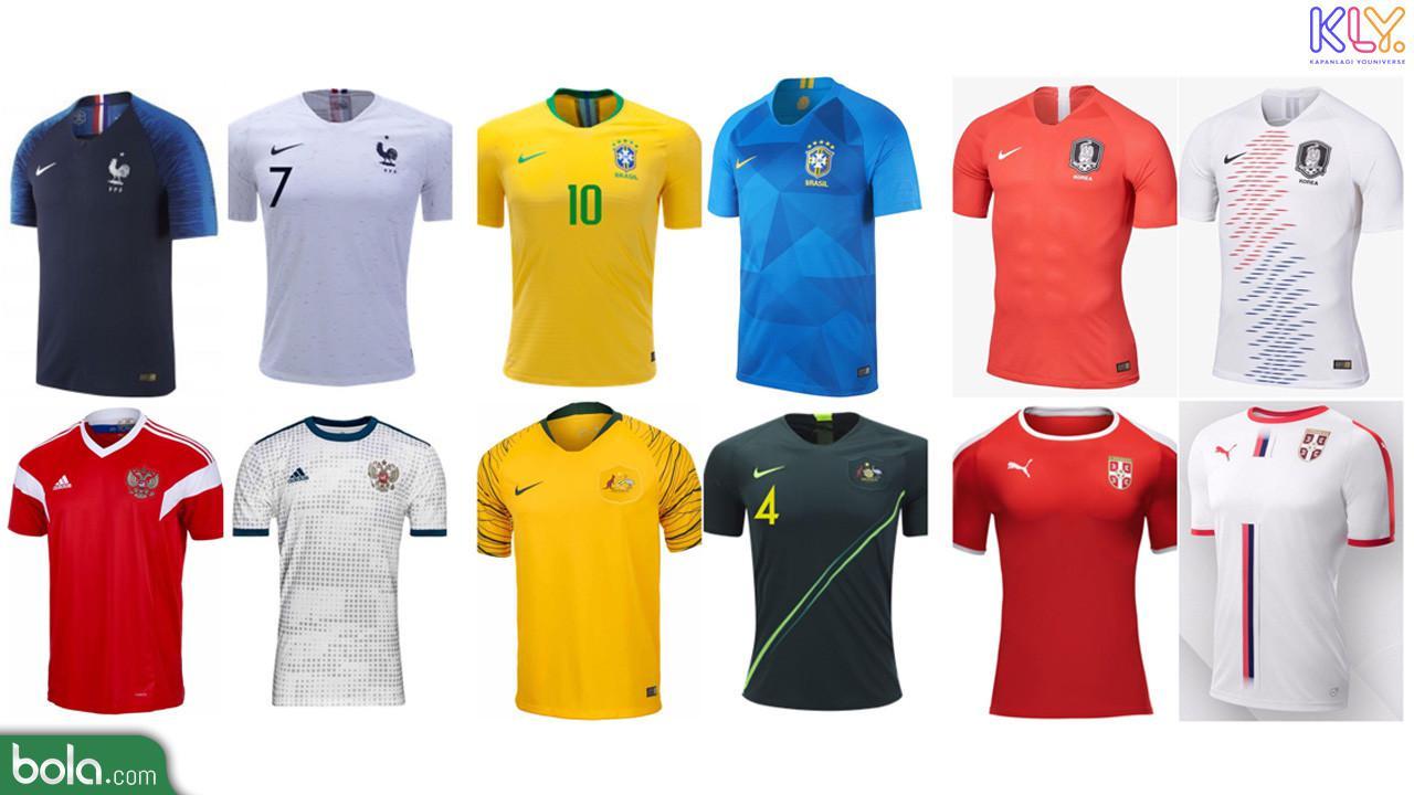 Jersey Terbaik di Piala Dunia 2018. (Dari kiri ke kanan Prancis, Brasil, Korea Selatan, Rusia, Australia, Serbia) (Bola.com/Adreanus Titus)