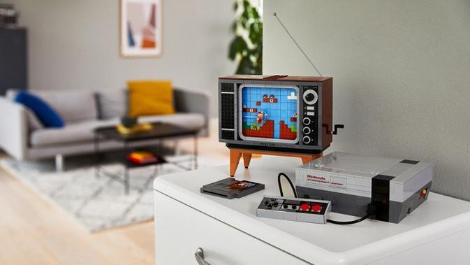 Tampilan replika konsel NES dari Nintendo yang dibuat dari bata Lego. (Doc. Lego)
