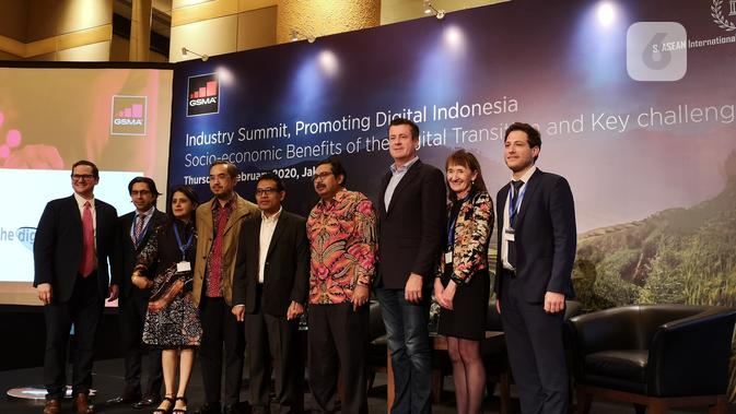 Konferesi pers laporan GSMA soal industri digital Indonesia di Jakarta, Kamis (6/2/2020). (Liputan6.com/ Agustinus Mario Damar)