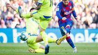 Penyerang Barcelona, Lionel Messi mencetak gol ke gawang Getafe. (Dok. FC Barcelona)