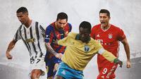Ilustrasi - Cristiano Ronaldo, Lionel Messi, Pele, Robert Lewandowski (Bola.com/Adreanus Titus)