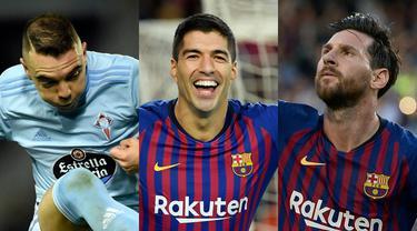 Bintang Barcelona, Lionel Messi bersama Luis Suarez memastikan diri sebagai pemuncak top skorer La Liga hingga pekan ke-12. (Kolase Foto AFP)
