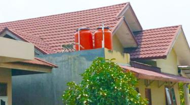 Seekor monyet ekor panjang memanjat atap salah satu rumah warga Pekanbaru.