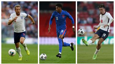 Foto kolase sejumlah pemain bintang andalan Timnas Inggris pada perhelatan Euro 2020 (Euro 2021). (Foto kolase: AFP)