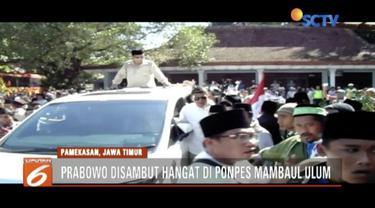 Prabowo kunjungi Pondok Pesantren Assadad di Sumenep dan Pondok Pesantren Mambaul Ulum di Pamekasan.