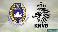 Logo PSSI dan KNVB. (Bola.com/Dody Iryawan)