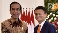 Presiden Joko Widodo menerima CEO Alibaba Jack Ma di Istana Bogor, Jawa Barat, Sabtu (1/9). Dalam pertemuan tersebut pemerintah Indonesia mengusulkan kepada Jack Ma agar membuat Jack Ma institut di Indonesia.(Liputan6.com/Pool/Biro Pers Setpres)