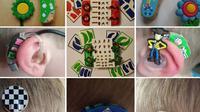 Aksesoris yang digunakan untuk mempercantik alat bantu dengar. (Bored Panda)