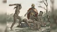 Ilustrasi ritual pengorbanan manusia (Foto: Jacques Arago/josephwatts.org).