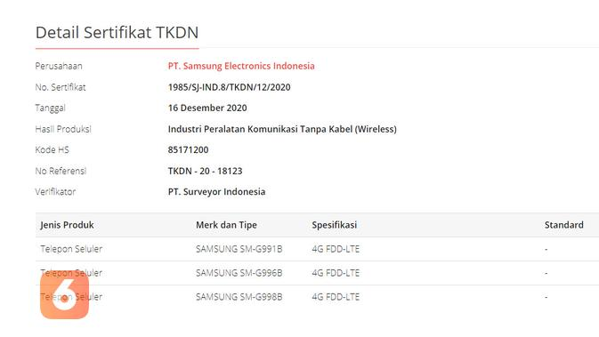 Galaxy S21 mendapatkan sertifikat TKDN dari pemerintah RI (Liputan6.com/ Agustin Setyo W)