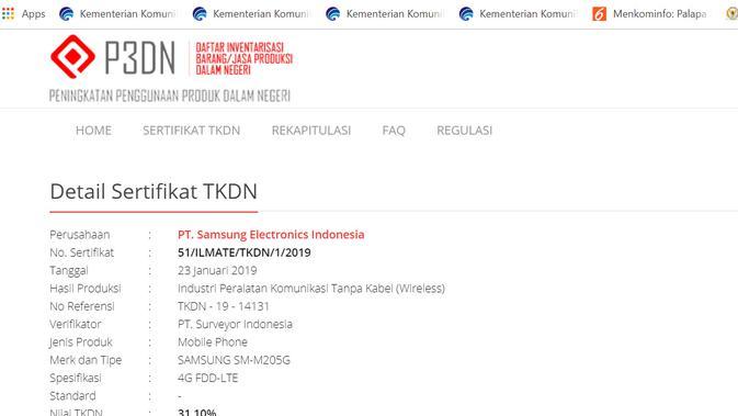 Perangkat murah Samsung, Galaxy M, mendapatkan sertifikat TKDN dari Kementerian Perindustrian (Foto: Screenshot P3DN Kemkominfo)